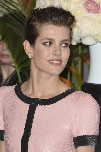 Charlotte Casiraghi Pompadour [hair,face,hairstyle,beauty,eyebrow,chin,lip,fashion,dress,brown hair,charlotte casiraghi,aid,rose ball,aid,monaco,sporting monte-carlo,princess grace foundation,rose ball 2015]