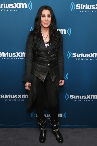 Cher Studded Boots [cher answers fan questions,clothing,footwear,fashion,outerwear,carpet,electric blue,premiere,shoe,suit,flooring,cher,town hall,new york city,siriusxm,the siriusxm studio,series,series]