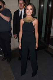 Cheryl Fernandez-Versini attended the launch of her perfume wearing a sleek and sophisticated backless jumpsuit by Narciso Rodriguez.