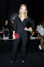 Mischa Barton donned a bowed black jumpsuit for the Chiara Boni La Petite Robe fashion show.