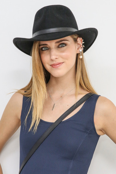 Chiara Ferragni Pearl Drop Earrings [clothing,hat,fashion accessory,sun hat,beauty,fedora,costume accessory,headgear,costume hat,neck,natalie ratabesi,chiara ferragni,philosophy,front row,roseland ballroom,new york city,mercedes-benz fashion week,fashion show]
