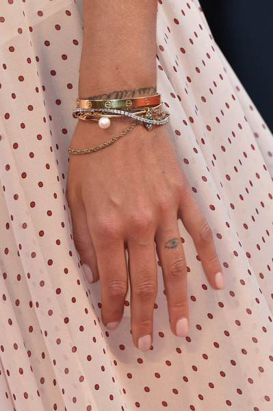 Chiara Ferragni Neutral Nail Polish [the young pope premiere,the young pope,nail,finger,pink,wrist,hand,peach,fashion accessory,polka dot,pattern,fashion,chiara ferragni,detail,venice,italy,venice film festival,premiere]