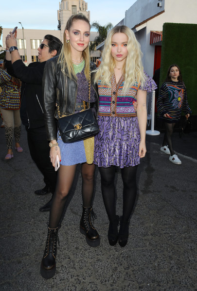 Chiara Ferragni Quilted Leather Bag [fashion,clothing,street fashion,tights,fashion design,blond,footwear,leg,fashion show,dress,chiara ferragni,dove cameron,m missoni f,w20 presentation,california,los angeles,pinks hot dogs,presentation,dove cameron,chiara ferragni,hollywood,celebrity,actor,fashion,photograph,model]
