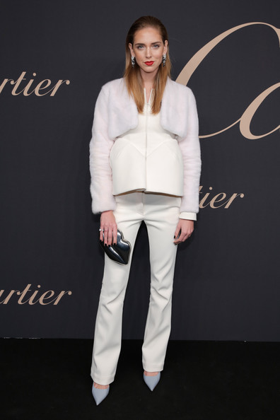 Chiara Ferragni Pantsuit [white,clothing,fashion,outerwear,jeans,footwear,fashion model,human,lip,neck,chiara ferragni,maison cartier celebrates 100th anniversary of their emblem la panthere de cartier,the maison cartier celebrates 100th anniversary of their emblem la panthere de cartier,new york city,skylight clarkson studios]
