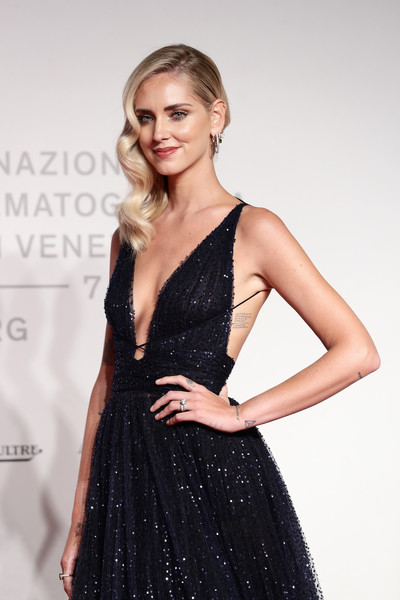Chiara Ferragni Lettering Tattoo [fashion model,clothing,dress,cocktail dress,shoulder,fashion,blond,beauty,hairstyle,little black dress,chiara ferragni,unposted,screening,red carpet arrivals - the 76th venice film festival,venice film festival at sala giardino,venice,italy]