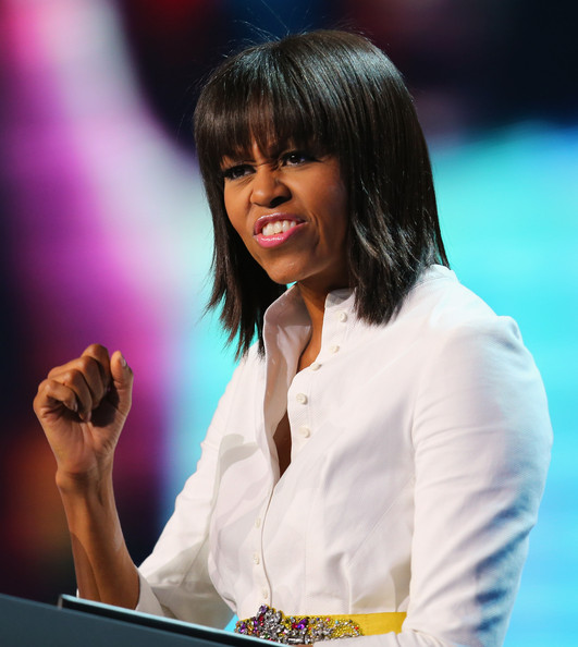 More Pics of Michelle Obama Medium Straight Cut with Bangs (5 of 15) - Shoulder Length Hairstyles Lookbook - StyleBistro