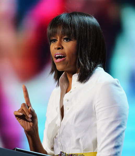 More Pics of Michelle Obama Medium Straight Cut with Bangs (4 of 15) - Shoulder Length Hairstyles Lookbook - StyleBistro