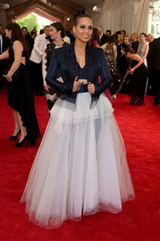 Alicia Keys rocked a navy Jean Paul Gaultier jacket and crop-top combo at the Met Gala.
