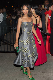 Kerry Washington attended a Met Gala after-party wearing a beaded gray spaghetti-strap dress by Prada.