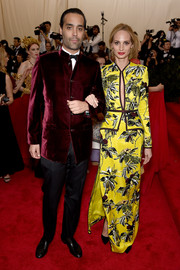 Lauren Santo Domingo brought a bright pop to the Met Gala red carpet with this neon-yellow floral cutout dress by Proenza Schouler.