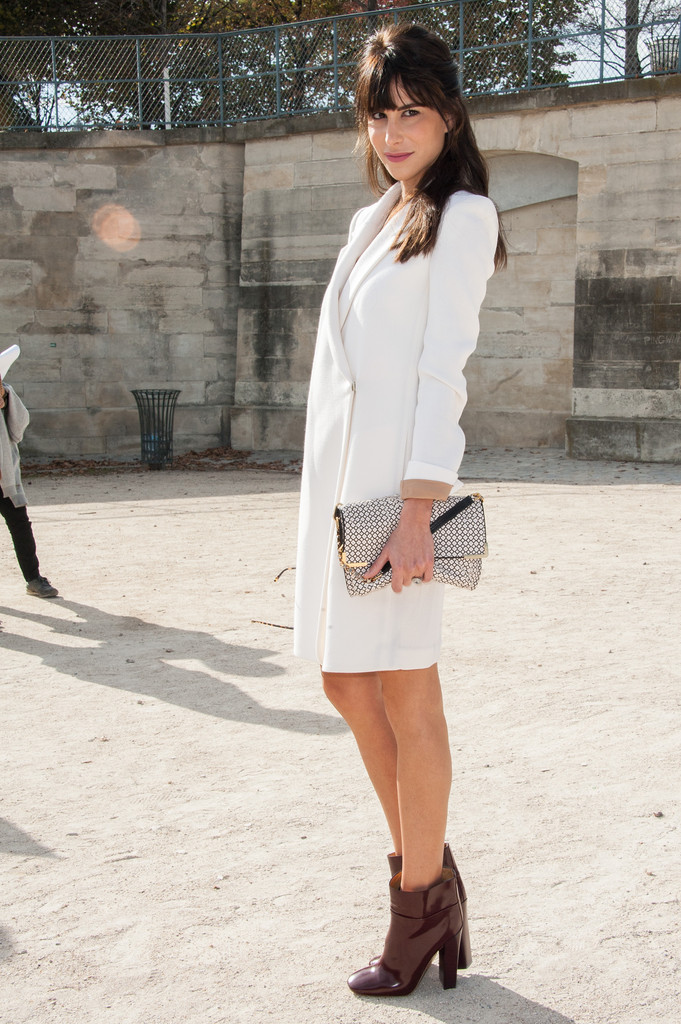 Caroline Sieber arrives at the Chloe Spring / Summer 2013 show as part of Paris Fashion Week at Espace Ephemere Tuileries on October 1, 2012 in Paris, France.