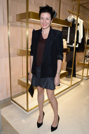 Garance Dore layered a black blazer over a brown tee for the 'Chloe Attitudes' book launch.