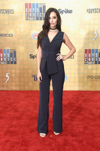 Chloe Bridges Jumpsuit [guys choice 2016,red carpet,carpet,clothing,flooring,premiere,dress,fashion,shoulder,suit,pantsuit,chloe bridges,arrivals,culver city,california,spike tv,sony pictures studios]