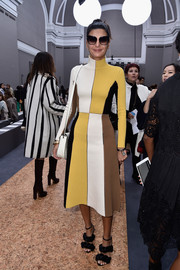 Giovanna Battaglia was retro-chic in a color-block turtleneck sweater dress during the Chloe fashion show.