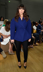 Miroslava Duma caught eyes in her space-age blue fit-and-flare jacket during the Chloe fashion show.