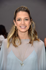 Helena Bordon styled her hair into a casual-chic half-up 'do for the Chloe fashion show.