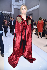 Chiara Ferragni looked like she just stepped out of a period movie in this floor-sweeping red velvet cape by Alberta Ferretti during the Chloe fashion show.