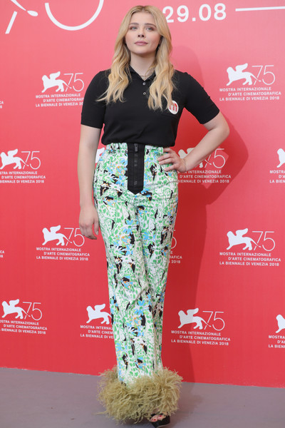 Chloe Grace Moretz Polo Shirt [suspiria photocall - 75th,clothing,fashion,carpet,red carpet,footwear,waist,long hair,flooring,trousers,premiere,chloe grace moretz,photocall,venice,italy,sala casino,venice film festival,75th venice film festival]