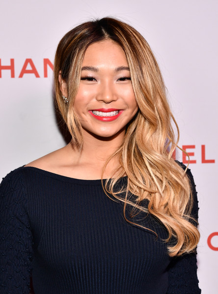 Chloe Kim Red Lipstick [hair,beauty,human hair color,hairstyle,fashion model,eyebrow,chin,blond,shoulder,long hair,chloe kim,@welovecoco,chanel beauty house,california,los angeles,chanel party]