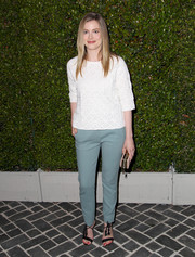 Gillian Jacobs kept it laid-back in a white knit top during the Chloe LA fashion show and dinner.