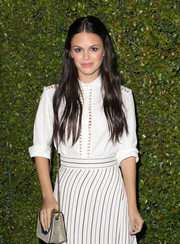 Rachel Bilson attended the Chloe LA fashion show and dinner carrying a metallic chain-strap bag from the brand.