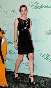 Charlotte Casiraghi paired her Spring 2010 dress with platform ankle strap heels that were a bit lackluster.