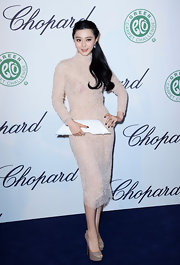 Fan Bingbing's fully embellished blush dress sparkled with a soft romantic glow at the Chopard Lunch in Cannes.