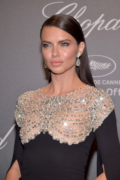 More Pics of Adriana Lima Beaded Dress (2 of 9) - Adriana Lima Lookbook - StyleBistro [hair,clothing,shoulder,hairstyle,eyebrow,dress,beauty,lip,fashion,long hair,caroline scheufele,adriana lima,rihanna,chopard space party - photocall,cannes,france,port canto,chopard space party,chopard,cannes film festival]