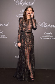 Sara Sampaio flashed an eyeful of skin in a sheer black gown by Elie Saab Couture at the Chopard Space Party.