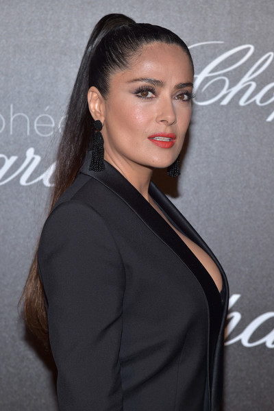 More Pics of Salma Hayek Jumpsuit (1 of 9) - Salma Hayek Lookbook - StyleBistro [chopard trophy photocall,hair,hairstyle,eyebrow,beauty,lip,long hair,black hair,brown hair,dress,little black dress,salma hayek,photocall,chopard trophy,hotel martinez,cannes film festival]