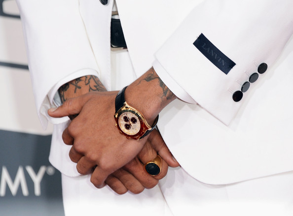 Chris Brown Leather Band Chronograph Watch [white,wrist,hand,arm,fashion accessory,finger,gesture,watch,jewellery,photography,arrivals,chris brown,jewelry detail,california,los angeles,staples center,55th annual grammy awards]