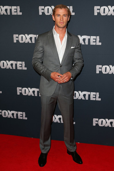 Chris Hemsworth Men's Suit [suit,carpet,red carpet,premiere,event,flooring,outerwear,muscle,formal wear,tuxedo,chris hemsworth,sydney,australia,foxtel,fox studios,launch,foxtel launch]