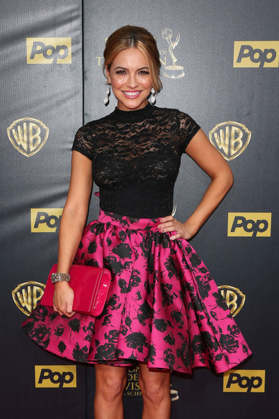 Chrishell Stause Cuff Bracelet [clothing,dress,cocktail dress,fashion,pink,premiere,hairstyle,carpet,footwear,event,arrivals,chrishell stause,burbank,california,warner bros. studios,daytime emmy awards]