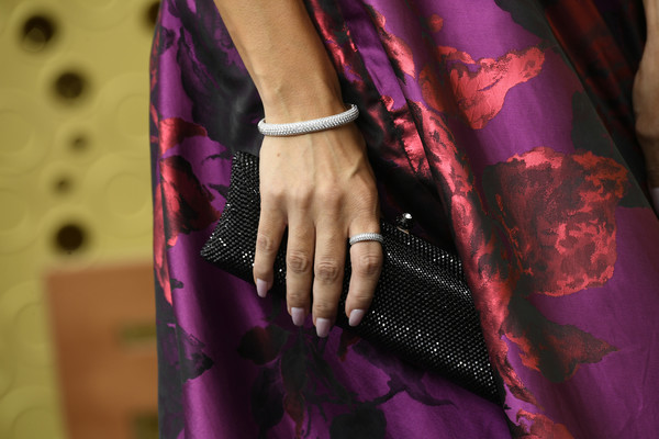Chrishell Stause Diamond Bracelet [purple,red,fashion,violet,magenta,pink,outerwear,textile,haute couture,silk,arrivals,chrishell stause,emmy awards,jewelry detai,microsoft theater,los angeles,california]