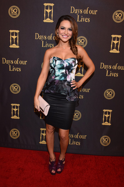 Chrishell Stause Envelope Clutch [days of our lives,clothing,dress,red carpet,carpet,cocktail dress,fashion,strapless dress,premiere,shoulder,little black dress,chrishell stause,california,los angeles,hollywood palladium,50th anniversary celebration]