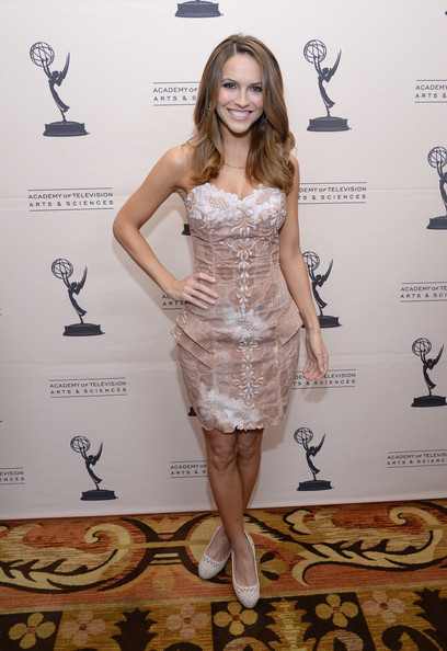 Chrishell Stause Strapless Dress [clothing,dress,cocktail dress,shoulder,hairstyle,fashion,carpet,footwear,strapless dress,joint,chrishell stause,montage beverly hills,california,academy of television arts sciences,daytime programming peer group,daytime emmy nominees cocktail reception]