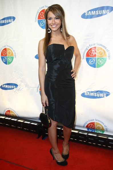 Chrishell Stause Leather Purse [clothing,dress,carpet,shoulder,red carpet,cocktail dress,strapless dress,joint,little black dress,premiere,arrivals,chrishell stause,new york city,cipriani wall street,samsung,four seasons of hope gala]