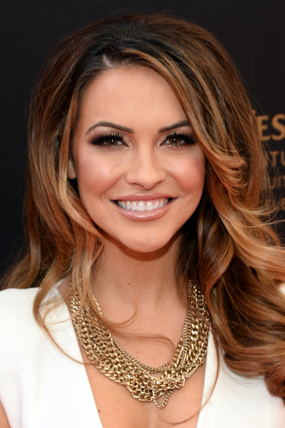 Chrishell Stause Layered Chainlink Necklaces [red carpet,hair,face,hairstyle,eyebrow,blond,brown hair,layered hair,hair coloring,chin,long hair,chrishell stause,red carpet,california,los angeles,westin bonaventure hotel,daytime emmy awards]