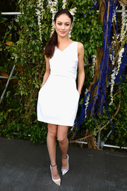 A pair of printed ankle-strap pumps provided a chicer finish to Olga Kurylenko's look.