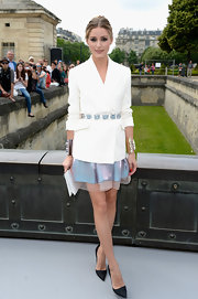 Olivia Palermo rocked a fitted blazer, which she accessorized with a blue jeweled skirt.