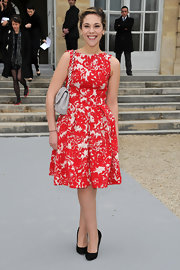 Alysson Paradis wore this vibrant fit-and-flare day dress to the Christian Dior Fall 2012 show.