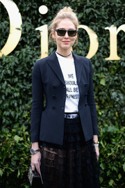 Chiara Ferragni opted for modern square sunnies when she attended the Dior Couture Spring 2017 show.