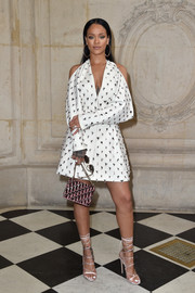 Rihanna gave us shoe envy with these nude satin lace-up heels by Dsquared2 that she wore to the Dior show.