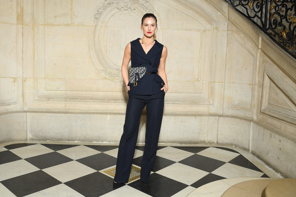 Bar Refaeli attended the Dior Fall 2019 show wearing a sleeveless navy pantsuit.