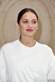 Marion Cotillard styled her hair into a center-parted ponytail for the Christian Dior fashion show.
