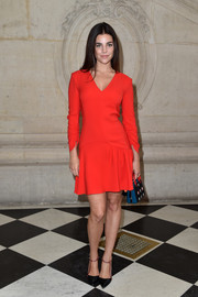 Julia Restoin-Roitfeld was hard to miss in her fire engine-red mini dress at the Dior fashion show.