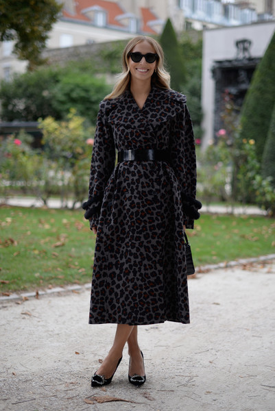 Harley Viera-Newton bundled up in style in this leopard-print coat by Christian Dior for the label's fashion show.
