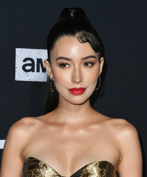 Christian Serratos Ponytail [the walking dead,season,hair,lip,face,hairstyle,eyebrow,beauty,chin,skin,black hair,forehead,arrivals,christian serratos,hollywood,california,chinese,special screening of amc]
