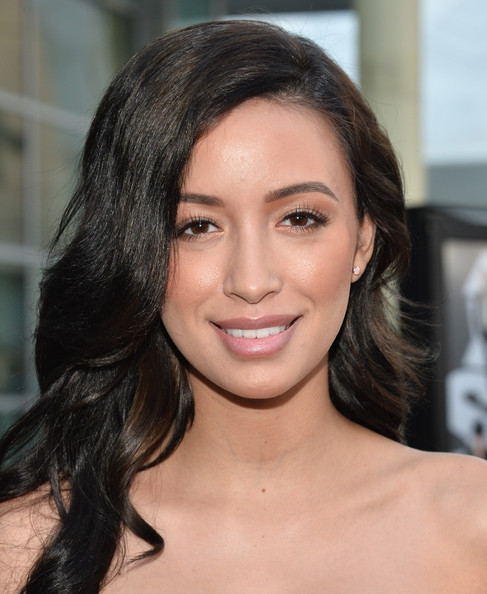 Christian Serratos Lipgloss [now you see me,hair,face,eyebrow,hairstyle,lip,chin,beauty,skin,black hair,brown hair,red carpet,christian serratos,screening,arclight theaters hollywood,hollywood,california,summit entertainment,screening]