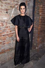 Jaimie Alexander looked fashion-forward in a striped broad-collar crop-top by Christian Siriano during the label's fashion show.